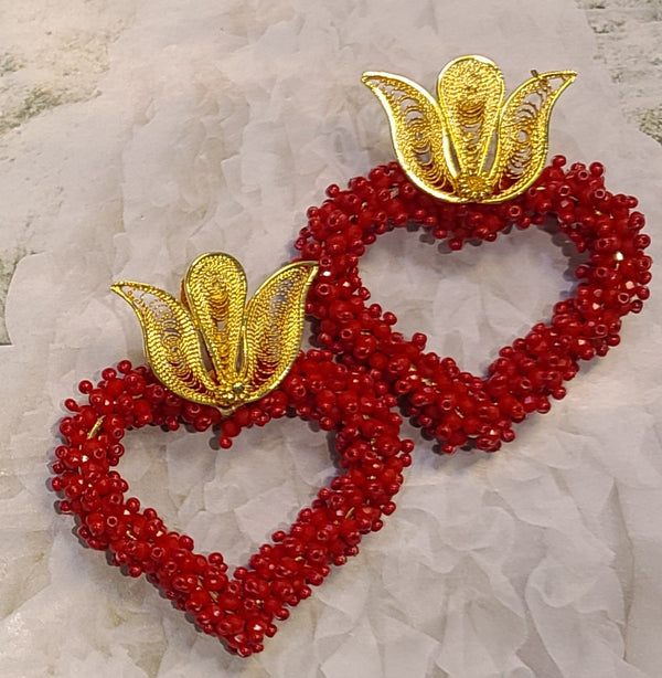 Ysa Beaded Hearts ( Red)