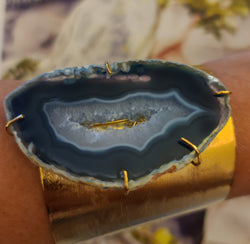 Blue Agate Cuff (Raw Agate)