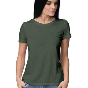 Women's Basics - Olive Green Half Sleeves Round Neck T-shirt