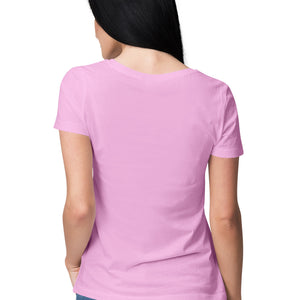 Women's Basics - Light Pink Half Sleeves Round Neck T-shirt