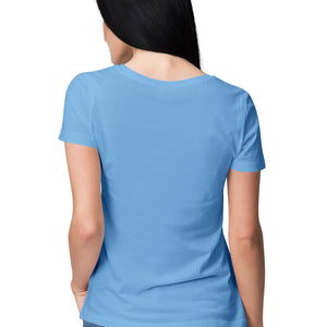 Women's Basics - Sky Blue Half Sleeves Round Neck T-shirt