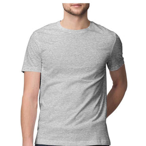 Men's Basics - Melange Grey Half Sleeves Round Neck T-shirt