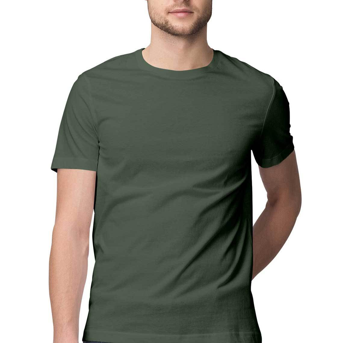 Men's Basics - Olive Green Half Sleeves Round Neck T-shirt