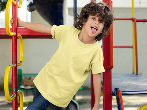 Kids's Basics - Butter Yellow Half Sleeves Round Neck T-shirt