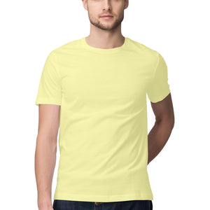 Men's Basics - Butter Yellow Half Sleeves Round Neck T-shirt