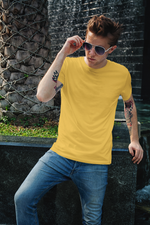 Load image into Gallery viewer, Men's Basics - Golden Yellow Half Sleeves Round Neck T-shirt