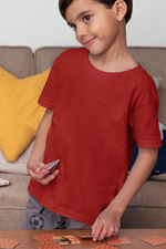 Load image into Gallery viewer, Kids's Basics - Red Half Sleeves Round Neck T-shirt