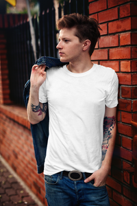 Men's Basics - White Half Sleeves Round Neck T-shirt