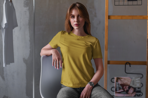 Women's Basics - Mustard Yellow Half Sleeves Round Neck