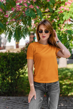 Load image into Gallery viewer, Women's Basics - Orange Half Sleeves Round Neck