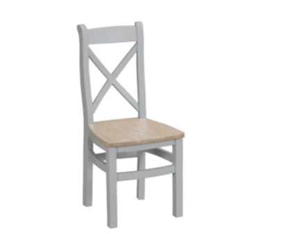 Trafalgar Cross Back Chairs Wooden Seat (Pair)