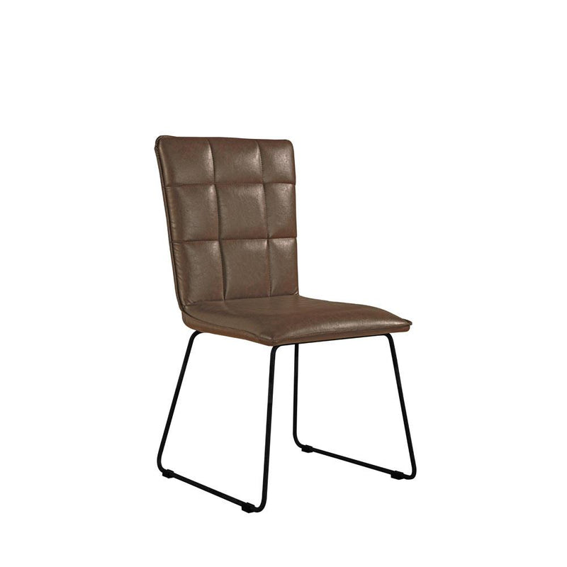 X2 Essex Panel Back Brown Chairs With Angular Legs