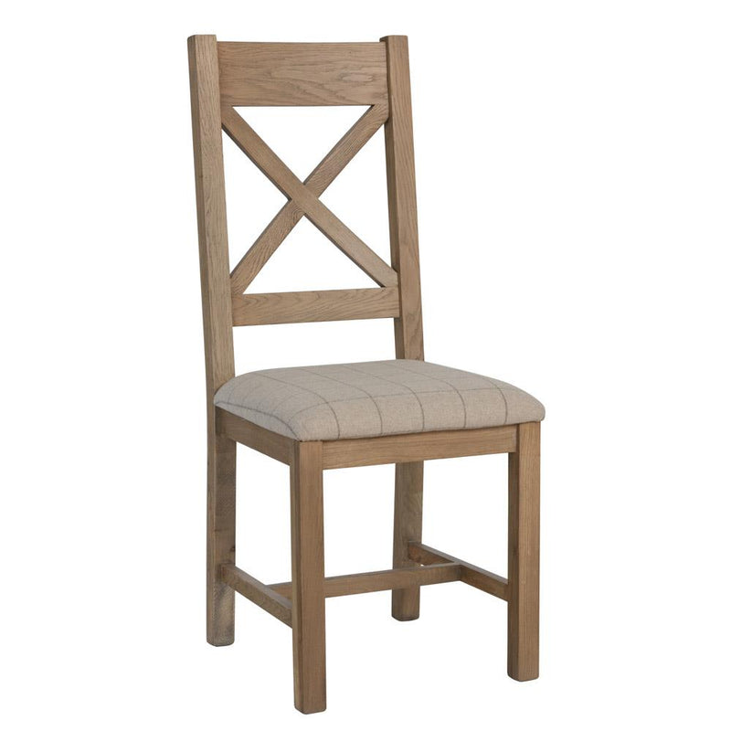 Camden Cross Back Dining Chairs (Natural Check) (Pair)