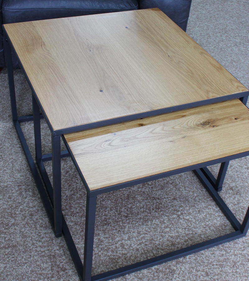 Industrial Large Nest of 2 Square Tables