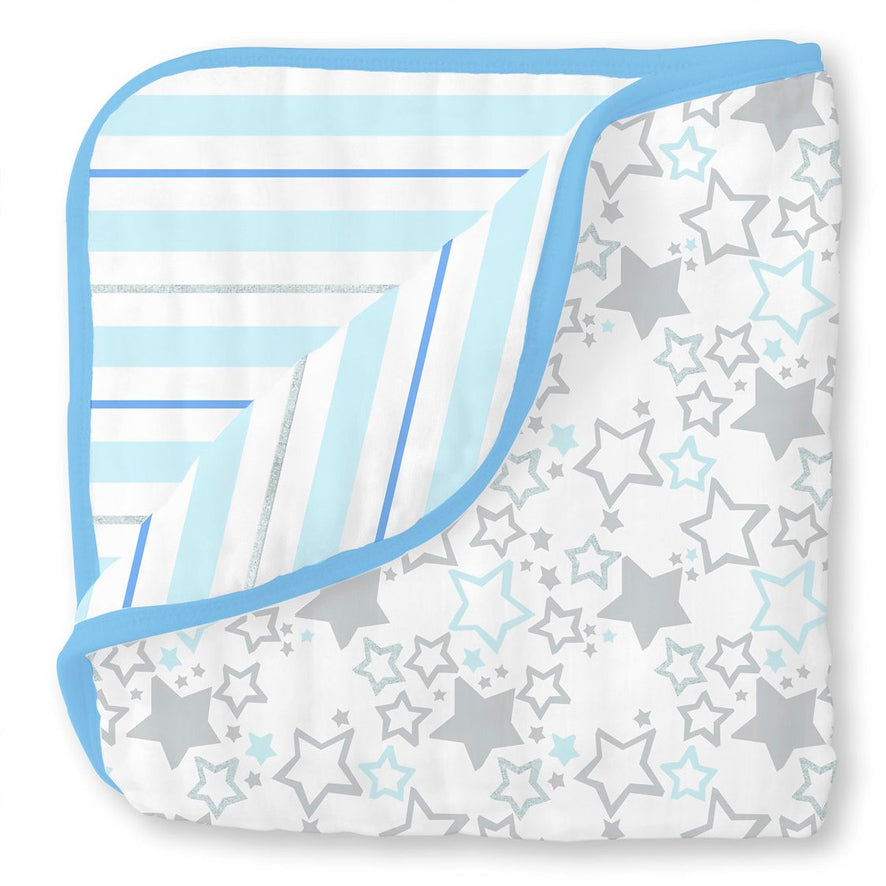 Muslin luxe blanket with blue stripes and stars