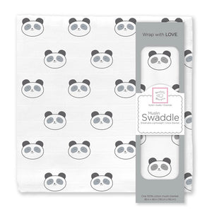 Muslin Swaddles with panda pattern
