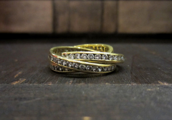 SOLD--Vintage Diamond Trinity Eternity Band Rolling Ring 18k