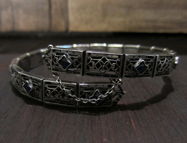 SOLD-Art Deco Sapphire Glass Filigree Armlet Sterling Silver, c. 1920