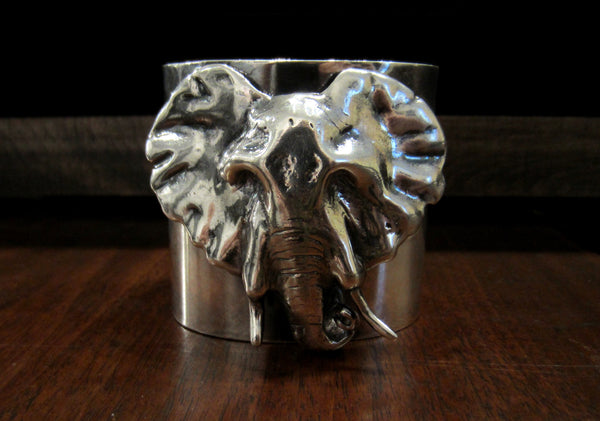 SOLD--Vintage Elephant Cuff Sterling c. 1970