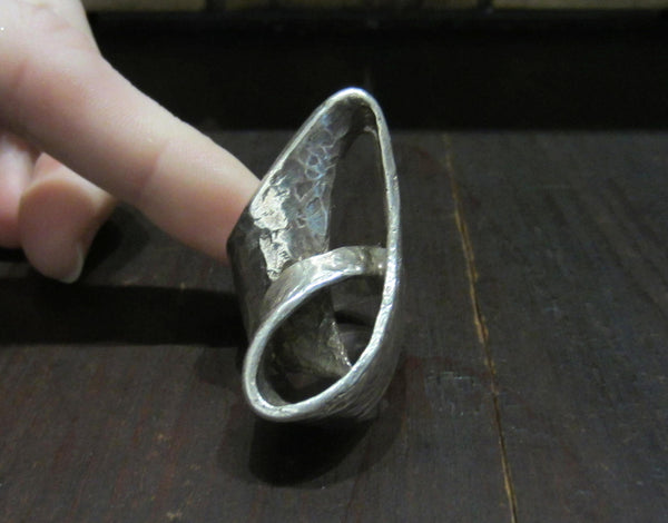 Giant Modernist Studio Ring Sterling c. 1970