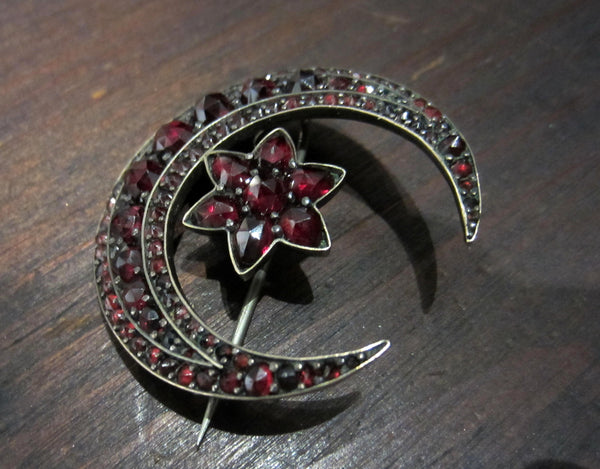 Victorian Bohemian Garnet Crescent Moon and Star Brooch Gilt Silver c. 1880