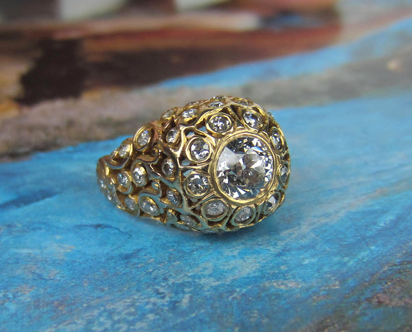 Fabulous Victorian Diamond Encrusted Beehive Ring 14k c. 1900