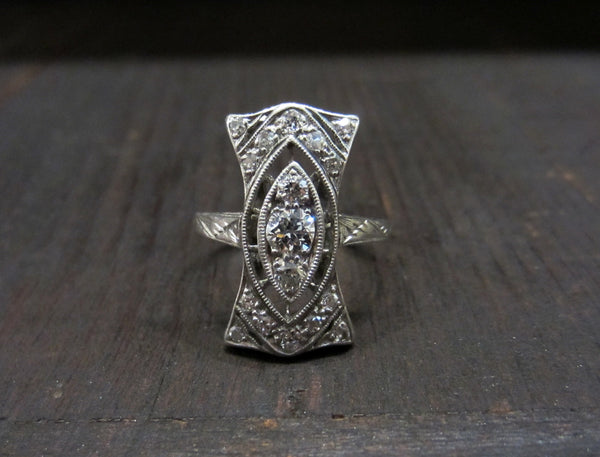 Late Edwardian/Early Art Deco Diamond Dinner Ring Platinum c. 1915