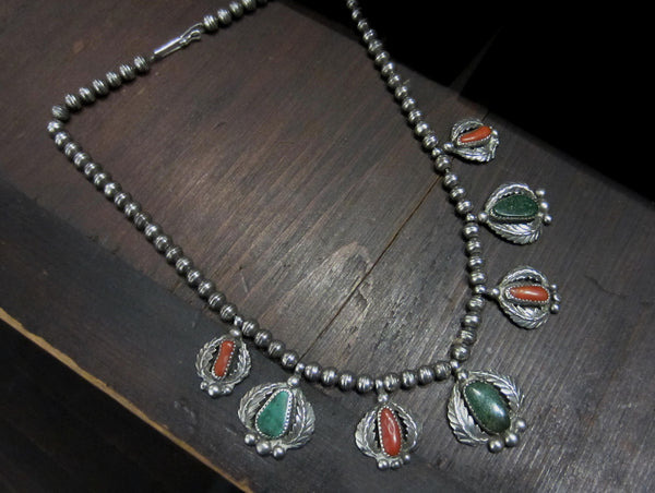 Gorgeous Navajo Turquoise and Coral Necklace Sterling c. 1950