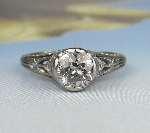Art Deco Old European Diamond .55ct Engagement Ring Platinum c. 1920