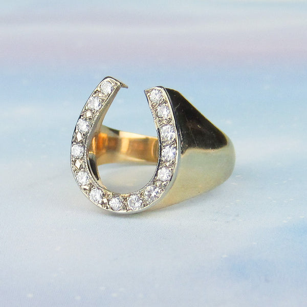Mid-Century Men's Diamond Horseshoe Ring 14k c. 1960
