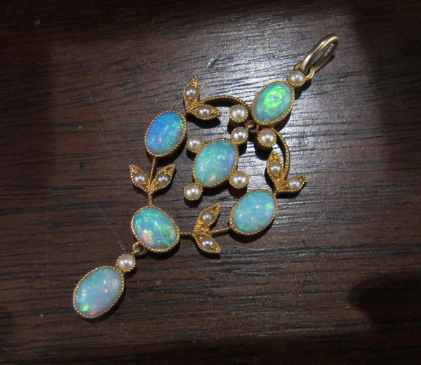 SOLD--Absolutely Gorgeous Opal and Pearl Pendant 18k c. 1910