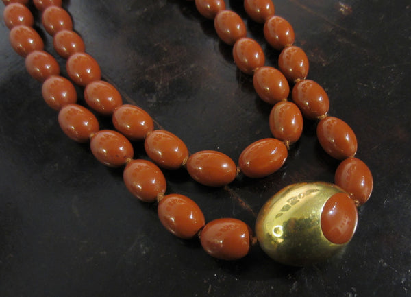 RARE Angela Cummings Long Jasper Bead Necklace 18k, Tiffany & Co c. 1980