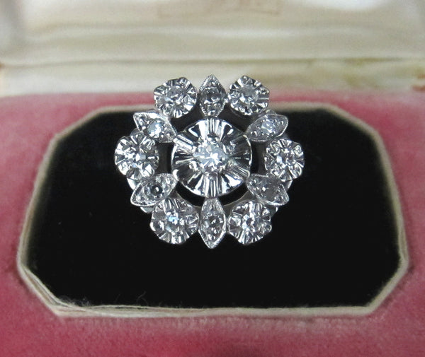 Mid-Century Diamond Cluster Ring 14k c. 1950