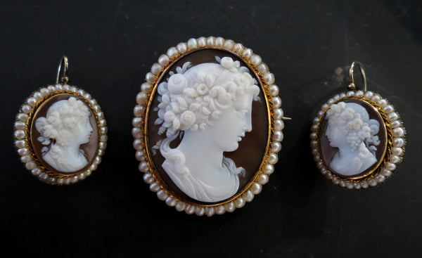 Victorian Bacchus and Bacchantes Cameo Brooch and Earrings 14k c. 1870