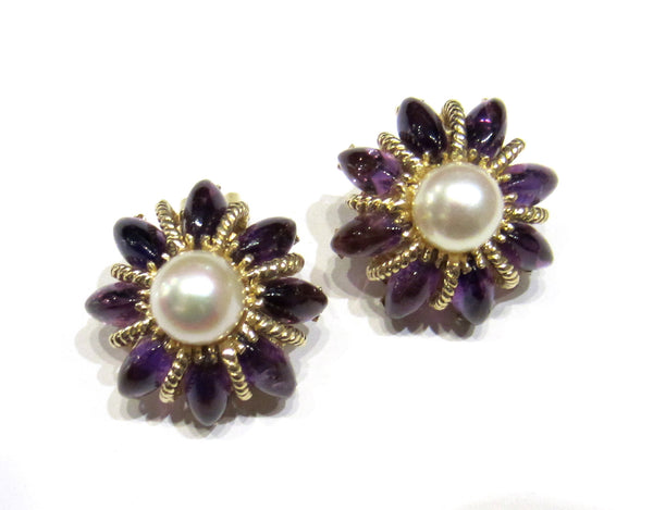 Mid-Century Pearl and Amethyst Star Earrings 14k c. 1960