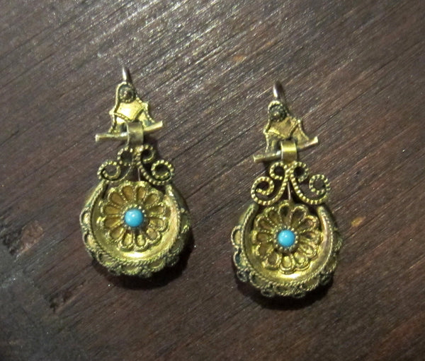 Victorian Turquoise Drop Earrings Gold-filled c. 1880