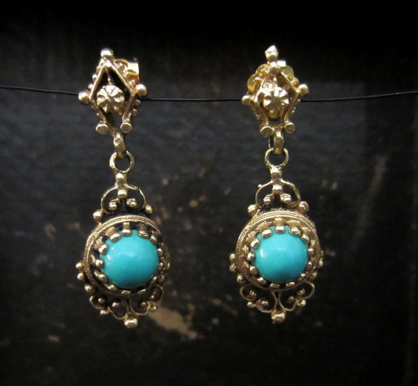 Mid-Century Turquoise Drop Earrings 14k c. 1950