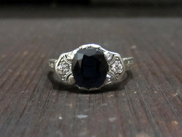 Art Deco Sapphire and Diamond Engagement Ring 18k, Lambert Brothers c. 1920