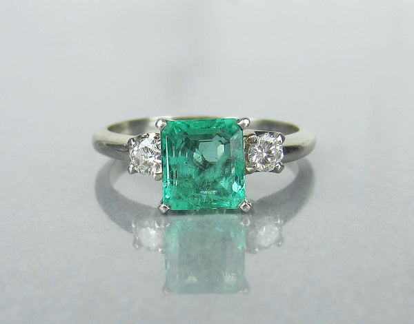 Estate Emerald 1.80ct and Diamond Ring 18k