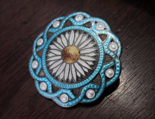 Gorgeous Edwardian Enamel Flower Brooch Sterling c. 1910