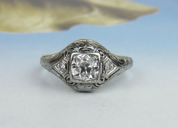 Art Deco Old European .71ct Diamond Engagement Ring 18k c. 1920
