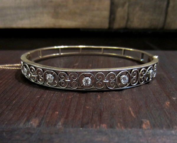 Edwardian Diamond Filigree Bracelet Platinum/14k c. 1910