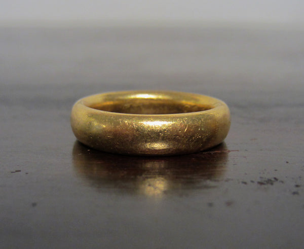 Vintage 5mm 22k Matte Band, Size 6
