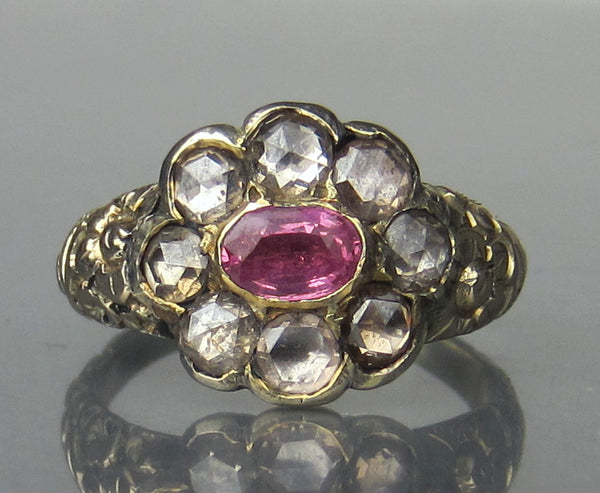 Georgian Pink Sapphire and Rose Cut Diamond Ring 14k c. 1820