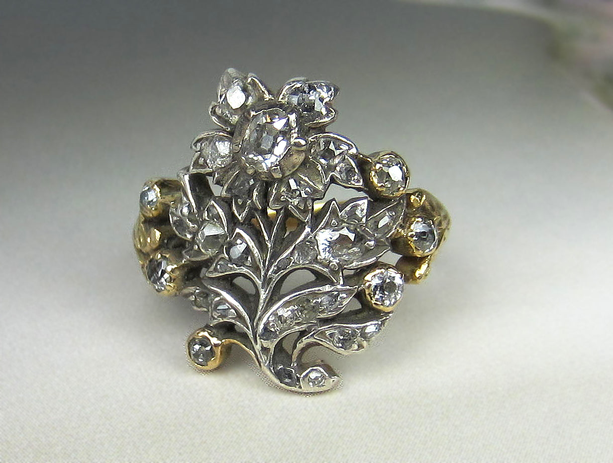 ring wedding antique georgian beautiful cut engagement vintage rings cluster cushion diamond