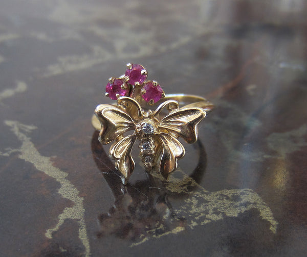 Mid-Century Diamond and Ruby Butterfly Ring 14k c. 1960