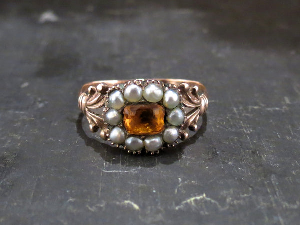 Georgian Citrine Paste and Split Pearl Ring 9k c. 1830
