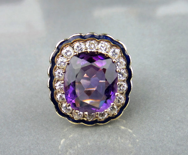 Mid-Century Amethyst, Diamond and Enamel Ring 14k, Property of Ruth Mitchell c. 1940's