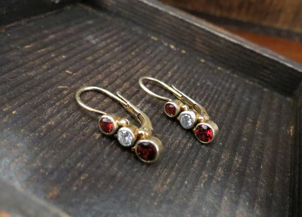 Vintage Bezel Set Diamond and Garnet Leverback Earrings Gilt Sterling