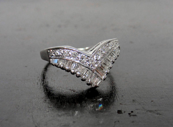 Vintage Diamond Tiara Ring 14k c. 1960